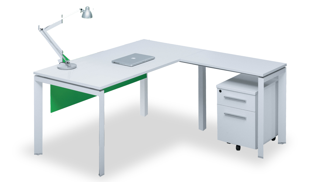 Compact L Shaped Office Table In White Boss S Cabin