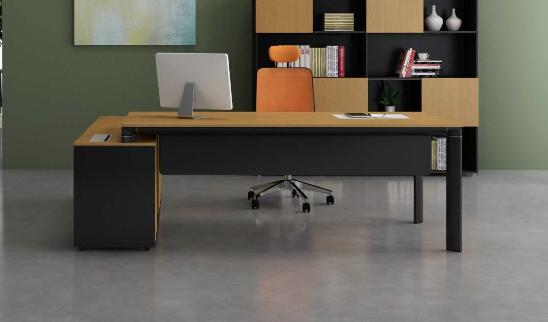 Stylish Office Table With Side Cabinet: Boss's Cabin