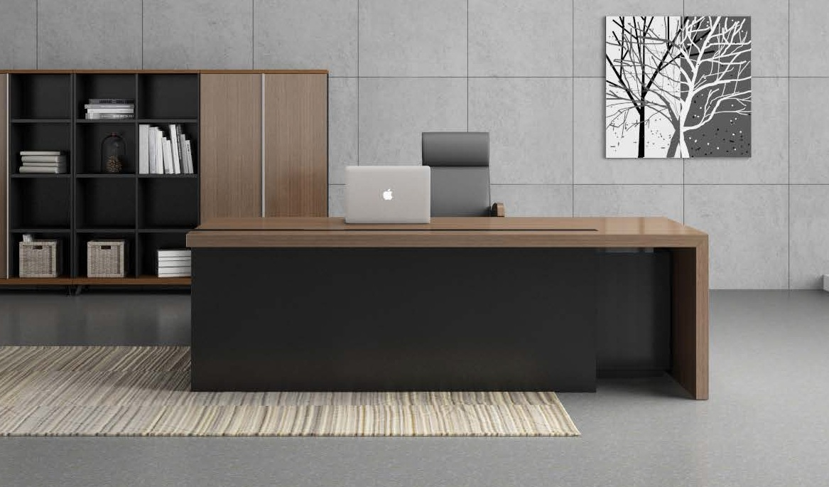 Contemporary Office Table In Walnut Charcoal Gray Finish