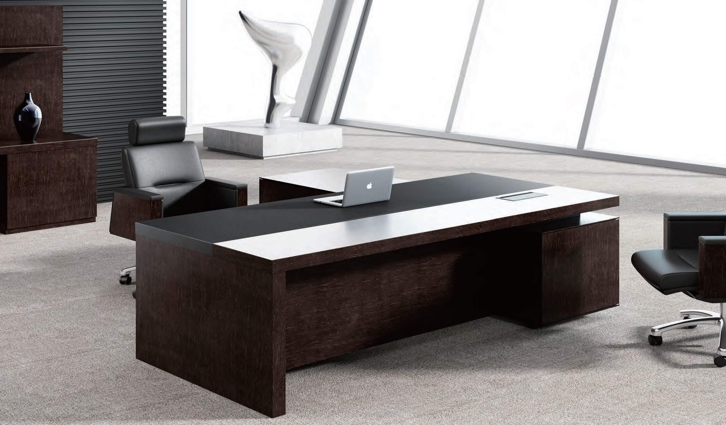 Best leading office table in leather wood boss 39 s cabin for Table bureau design