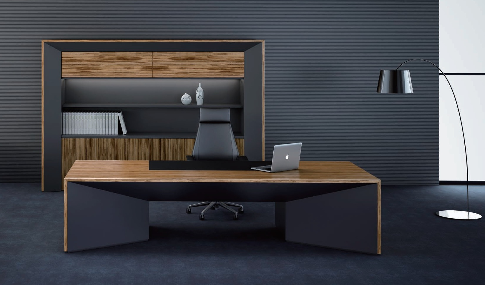Premium Status Office Table In Zebra Veneer Boss S Cabin