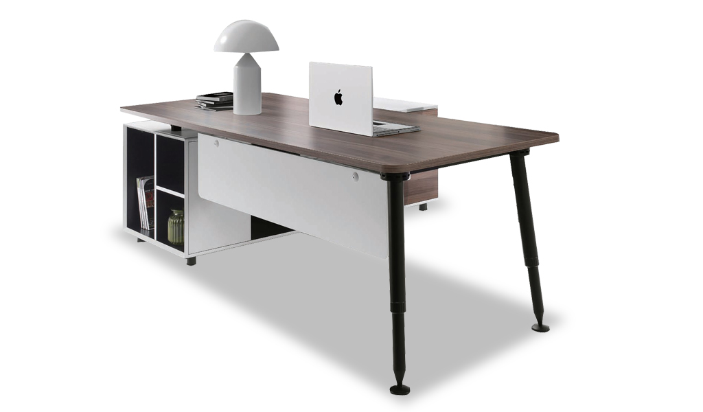 contemporary & stylish office table with side cabinet: boss's cabin