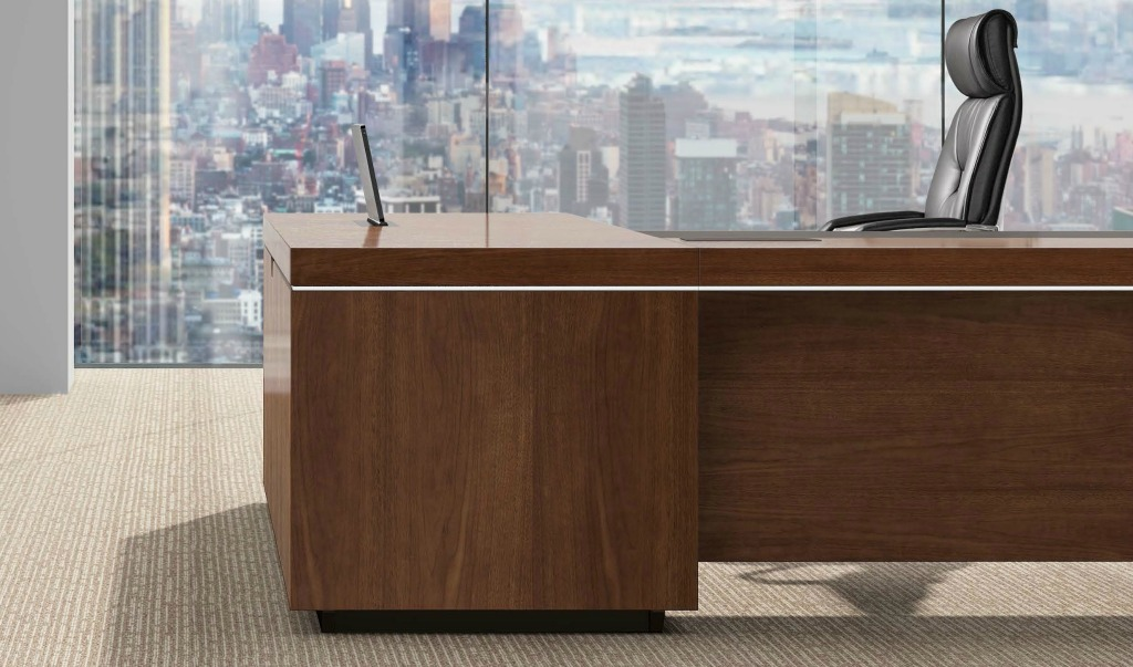 L shaped Office Desk In Walnut With Leather Trim Bosss Cabin