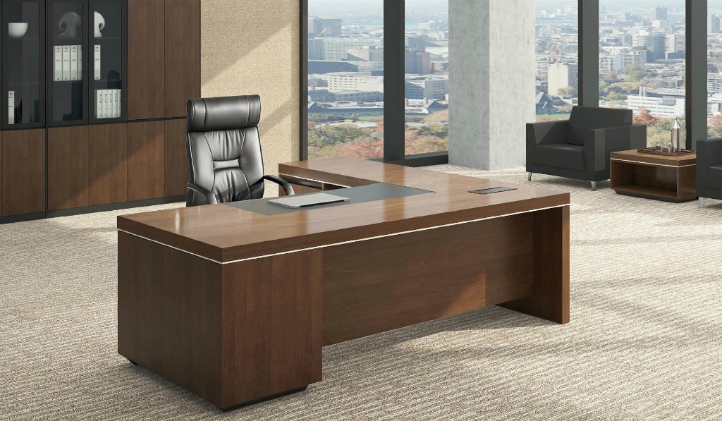 l shaped office table in luxurious walnut finish boss 39 s cabin. Black Bedroom Furniture Sets. Home Design Ideas