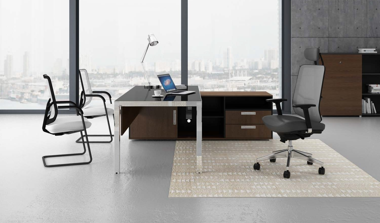 Modern office table in steel black glass boss 39 s cabin for Modern furniture companies
