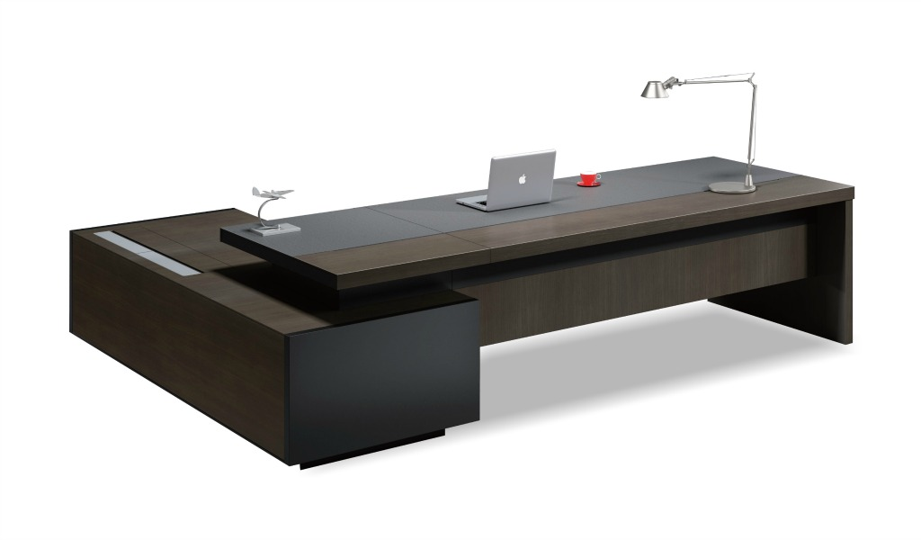Contemporary Office Table In Leather Amp Wood Boss S Cabin