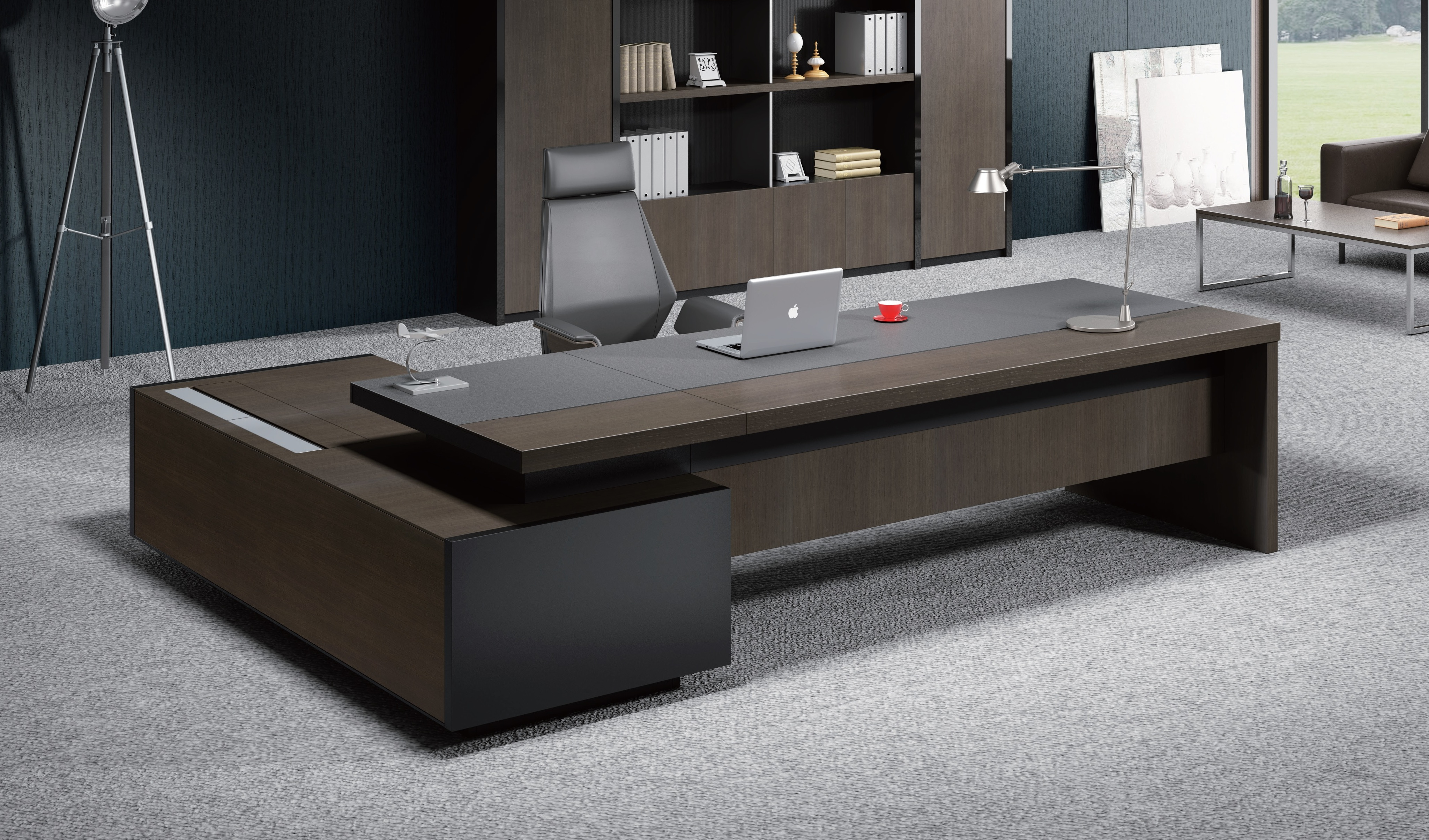 contemporary office table in leather wood boss 39 s cabin. Black Bedroom Furniture Sets. Home Design Ideas