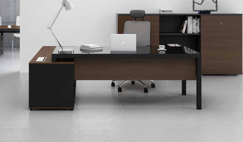 Stylish Office Table With Black Glass Top Boss 39 S Cabin