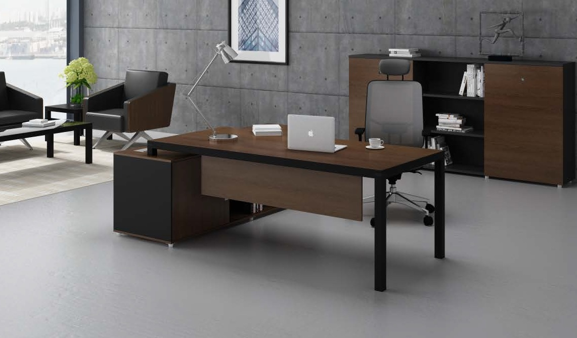 Sleek office desk with storage in walnut black finish for Table design for office