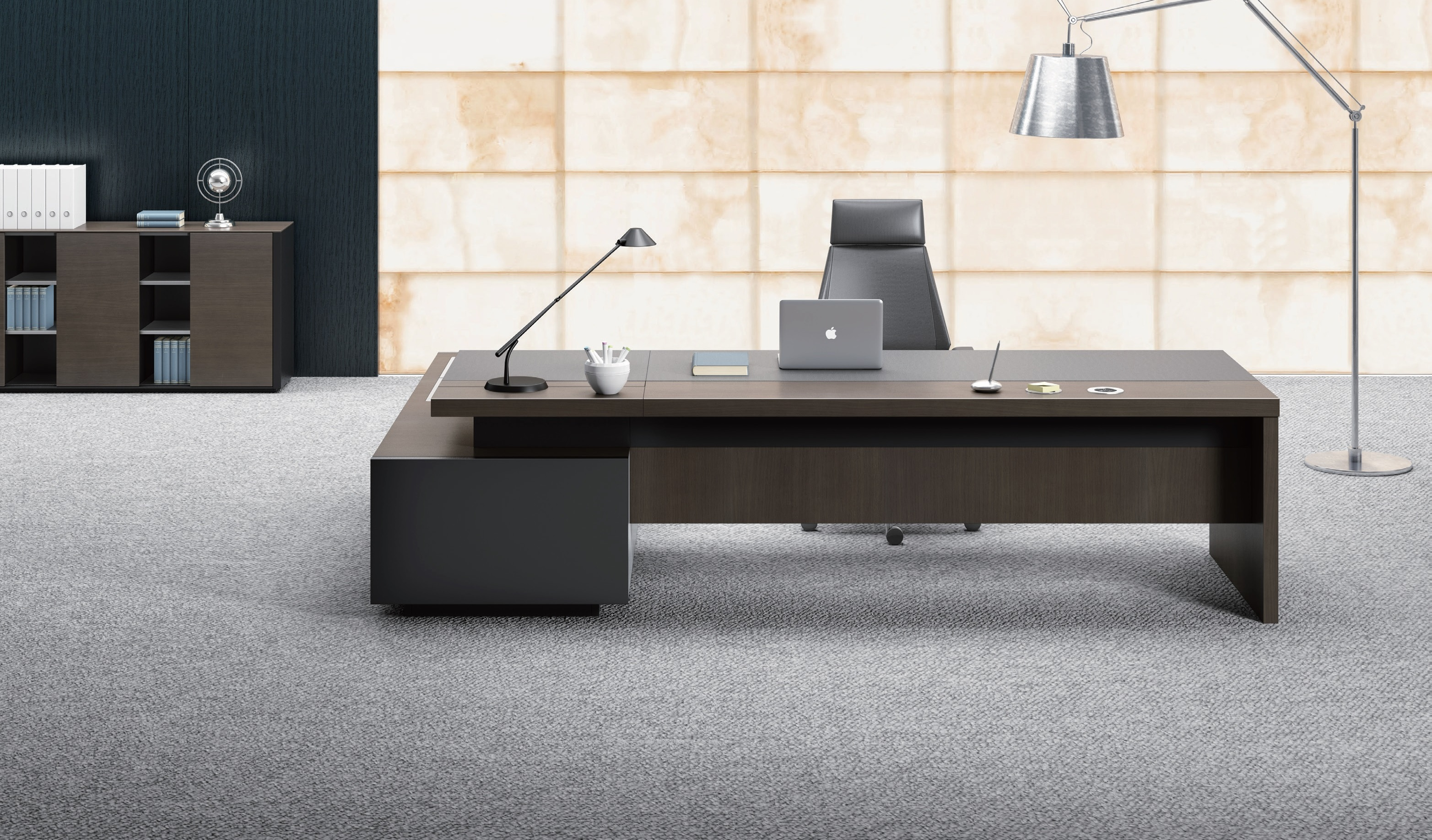 Stylish larry office table in wood leather boss 39 s cabin for Modern furniture companies
