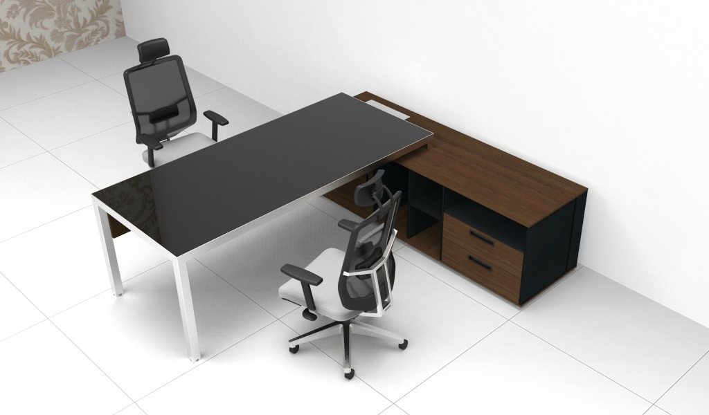 Modern Office Table In Steel Black Glass Boss S Cabin
