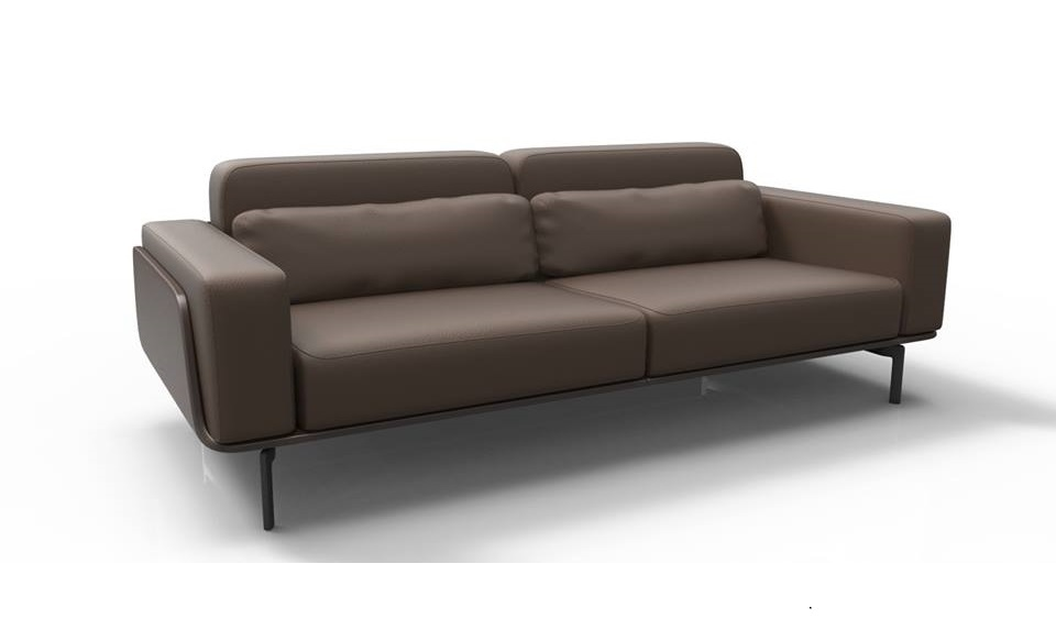 Three Seater Office Sofa In Brown Leather: BossesCabin.com