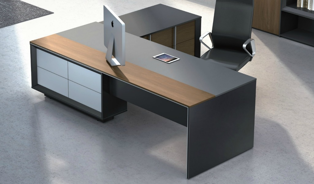 Stylish mary office table in wood leather boss 39 s cabin for Furniture table design examples