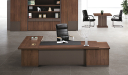 large office cabin with L shape desk and rear cabinet