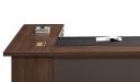 walnut finished office desk with wirebox