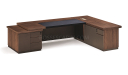 L shape office table with side cabinet