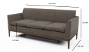 'Pluto' Three Seater Compact Office Sofa In Fabric