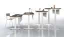 height adjustable desks set to diiferent heights