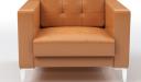 'Alpha' One Seater Sofa In Tan PU Leather