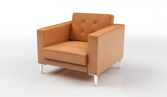 one seater sofa in tufted tan leather finish