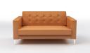 'Alpha' Two Seater Sofa In Tan PU Leather