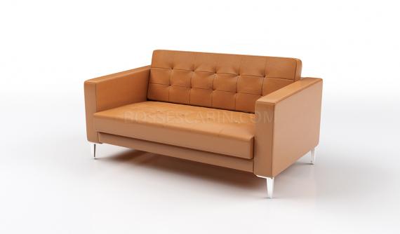 office sofa in tan leather