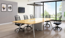 contemporary boardroom with stylish table and chairs
