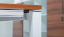 office workstation with white metal & aluminum leg