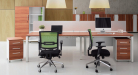 modular workstations with storage pedestal and chairs