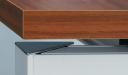 modular desk with walnut top and aluminum leg