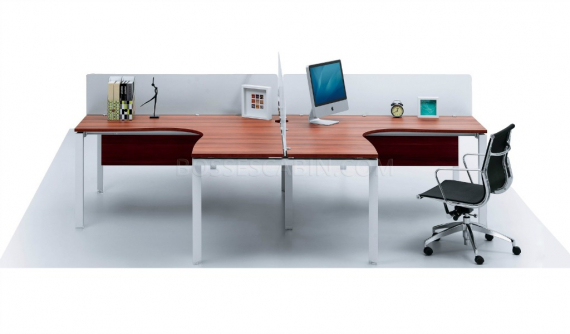 L shape modular office desk with frosted glass screen