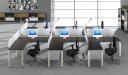 modern office with L shape workstations in dark oak