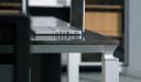 close up view of oak veneer workstation top
