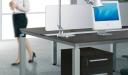 premium workstation in oak veneer finish with wire raceways