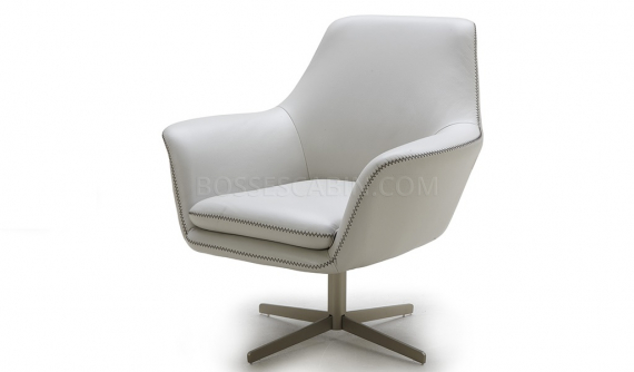 'Tartan' Lounge Chair In White Leather