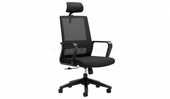 sprint mesh back chair with headrest in black color