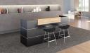 modern reception area with dark gray reception table