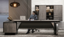 'Atlas' 9.5 Feet Luxury Office Desk In Walnut Veneer