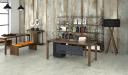 office cabin with office desk and bookshelf in dark walnut