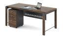 compact office desk with modesty panel and mobile pedestal in walnut laminate