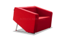stylish red one seater office sofa in fabric