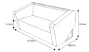 shop drawing of two seater sofa with dimensions