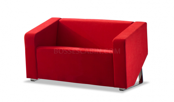 stylish two seater sofa in red fabric