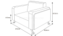 shop drawing of single seater sofa
