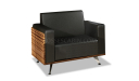 single seater modern sofa in black leather