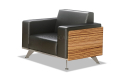 black leather sofa with steel legs