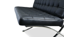 black leather office sofa with steel frame