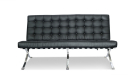 barcelona style office sofa in black leather