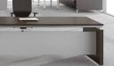 close up view of office desk in dark oak finish