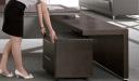 dark oak office table with side return and mobile pedestal